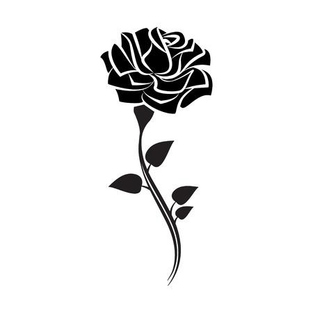 rosas negras: Negro silueta de se levantó con las hojas. estilo del tatuaje subió. ilustración vectorial Vectores