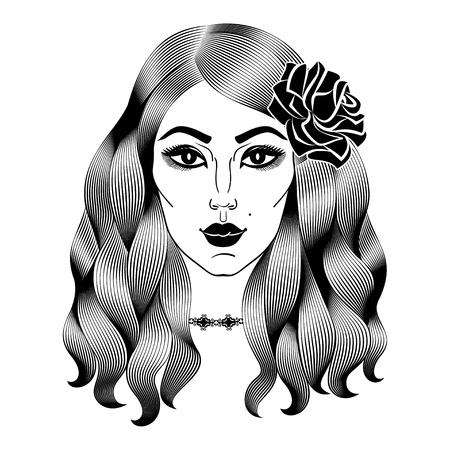 spanish girl: Portrait of young beautiful woman with rose. Face of spanish girl. Fashion girl with long wavy hair. Vector illustration
