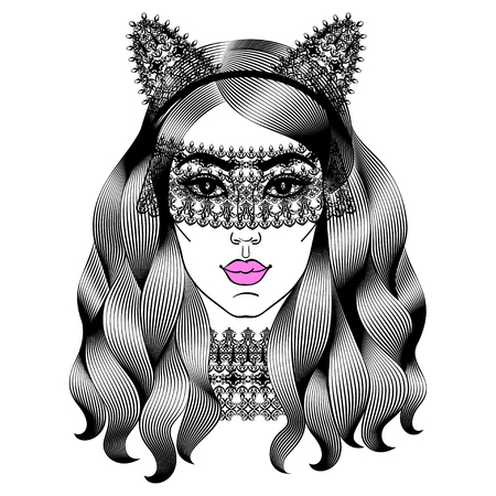 carnivale: Beautiful woman in lace mask. Girl with cat ears. Fashion girl with curly long hair. Vector illustration