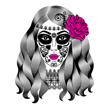 catrina: Beautiful woman with sugar skull makeup. Mexican Catrina skull makeup. Senorita in Day of the Dead. Girl with rose in hair. Vector illustration Illustration