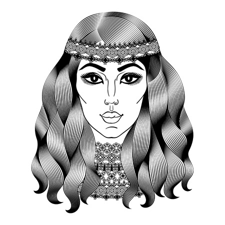 Beautiful hippie woman. Fashion girl with curly long hair. Vector illustration