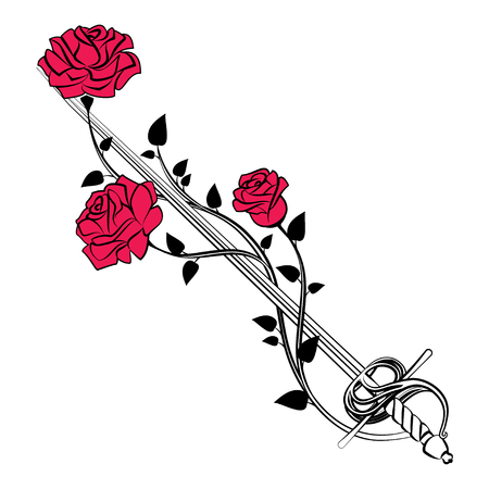 Decorative roses with sword. Blade entwined roses. Floral design elements. Vector illustration Illustration