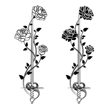entwined: Decorative roses with sword. Blade entwined roses. Floral design elements. Vector illustration Illustration