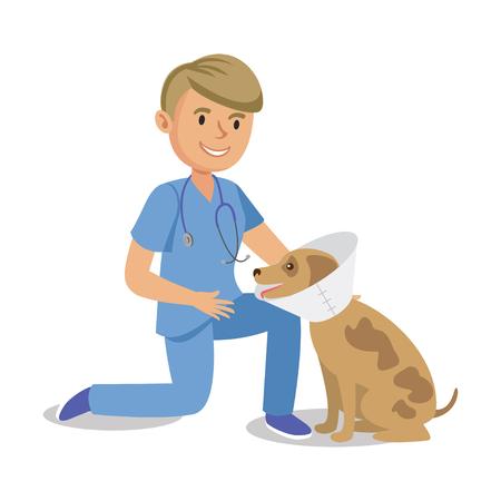 Boy holding dog. Pet doctor. Cartoon veterinarian healing dog. Vector illustration Ilustracja