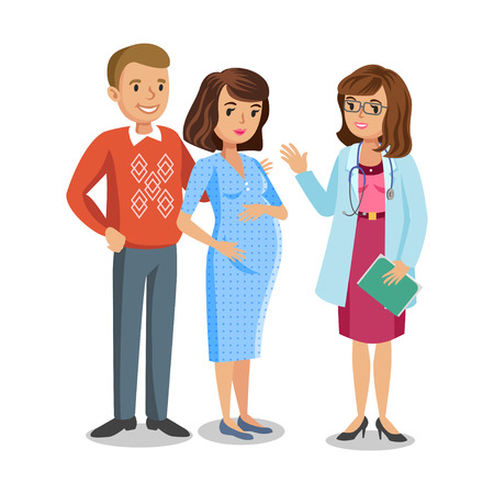 Family visiting doctor in clinic, expectant parents, pregnant woman with her husband. People couples, vector illustration