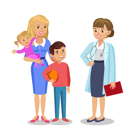 pediatrist: Woman with children visit doctor. Mother and her babies with pediatrist. Vector illustration Illustration