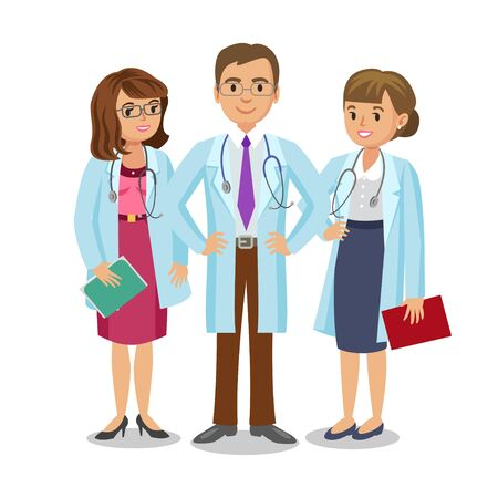 medical team: Medical team. Three doctors with stethoscopes, man and womens. Healthcare and medical concept. Vector Illustration