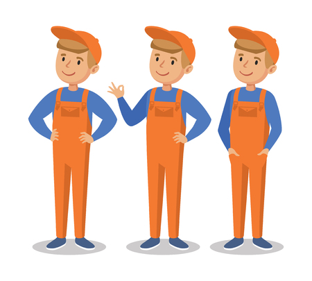 jumpsuit: Cute cartoon mechanic boy.  Happy little worker in an orange jumpsuit. Vector illustration Isolated On White Background