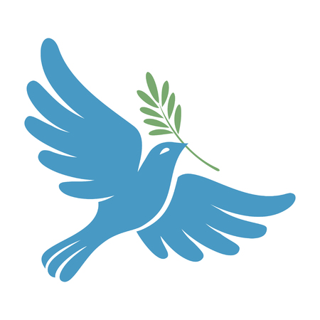 Silhouette of a flying dove with olive branch. White pigeon doodle. Vector illustration 向量圖像