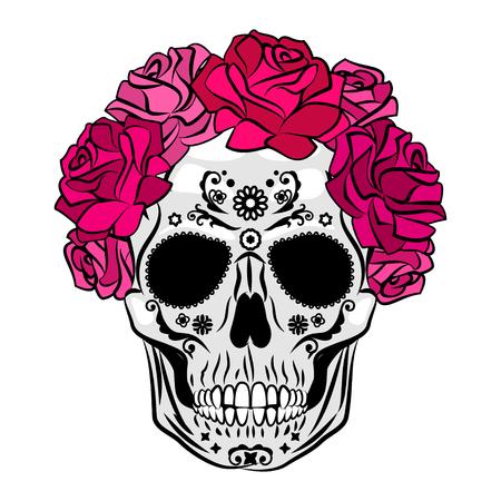 Human skull with makeup. Mexican Catrina skull makeup. Senorita in Day of the Dead. Vector illustration