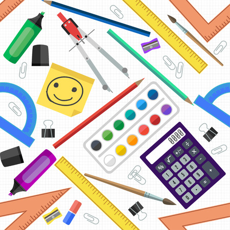 staples: Seamless pattern of school tools. Vector illustration