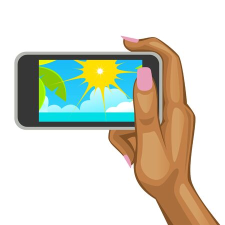damsel: Womans hand holding the smart phone with view of the beach. Vector illustration Illustration