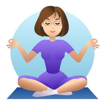 nirvana: Woman doing yoga meditation. Girl doing relaxation. Vector illustration Illustration