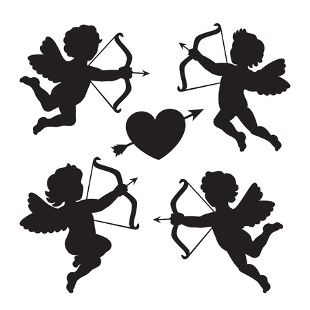 Black silhouette of a cupids. Design for Valentines day. Vector illustration Illustration