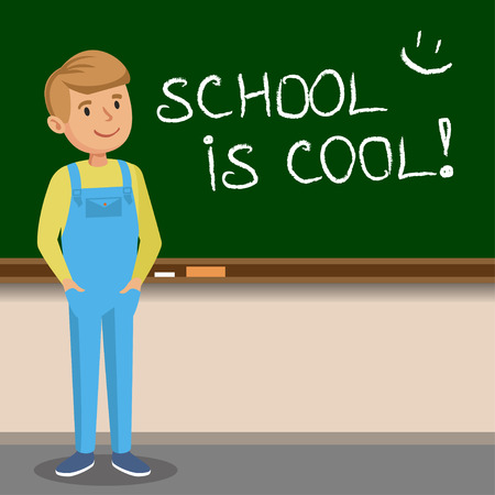 attitude boy: Little boy to write with chalk on the school blackboard. School is cool. Vector illustration Illustration
