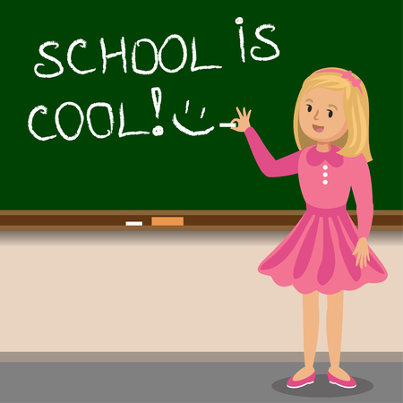 young schoolchild: Little girl to write with chalk on the school blackboard. School is cool. Vector illustration Illustration