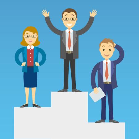winner man: Cartoon business people on a pedestal celebrating the victory. Vector illustration