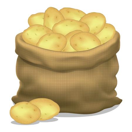 白い背景にジャガイモの袋のイラスト。ベクトルのアイコン