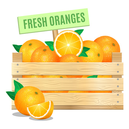 Fresh oranges in a wooden box on a white background. Vector icon Ilustração
