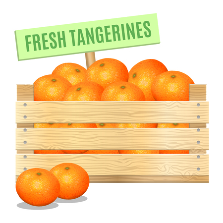 mandarins: Fresh mandarins in a wooden box on a white background. Vector icon