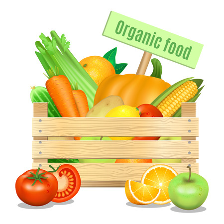apples and oranges: Fresh vegetables and fruits in a wooden box on a white background. Vector icon
