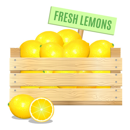 Fresh lemons in a wooden box on a white background. Vector icon Illustration