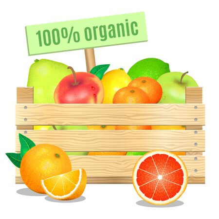 apples and oranges: Fresh fruits in a wooden box on a white background. Vector icon