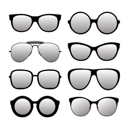 fashionable: Different forms fashionable sunglasses. Types sunglasses. Vector