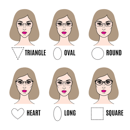 types of glasses: Different glasses shapes for different face types. Vector illustration Illustration