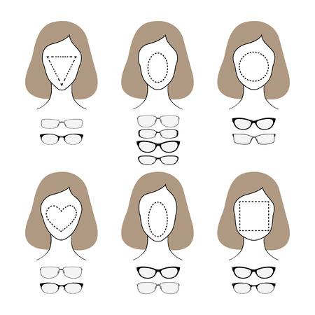 別の顔型の異なるガラス形状。ベクトル図  イラスト・ベクター素材