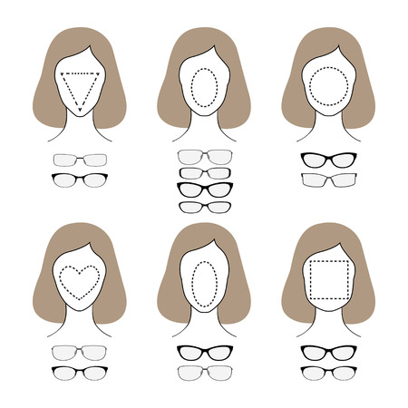 spectacle frame: Different glasses shapes for different face types. Vector illustration Illustration