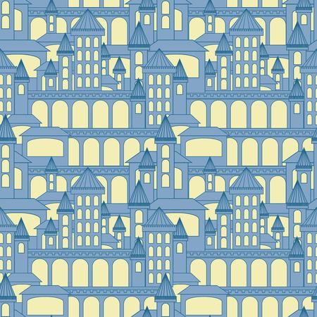 fashion story: Castle seamless pattern.Vector illustration
