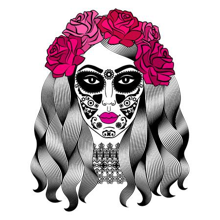 설탕 두개골 메이크업으로 아름 다운 여자입니다. 멕시코 카 트리 나 두개골 메이크업입니다. 죽은 자의 날 Senorita. 머리에 장미 소녀입니다. 벡터 일러 일러스트