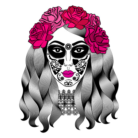 Beautiful woman with sugar skull makeup. Mexican Catrina skull makeup. Senorita in Day of the Dead. Girl with rose in hair. Vector illustration Ilustração