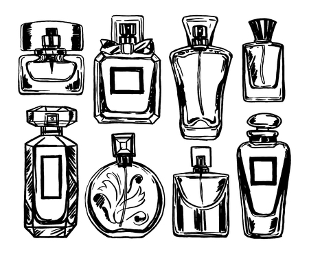Perfume bottles set. Vector