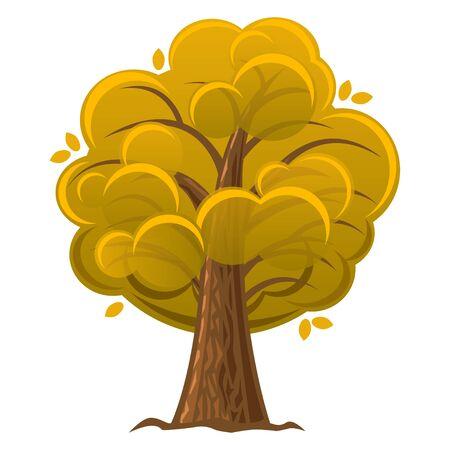 luxuriant: Cartoon tree, autumn orange oak tree with luxuriant foliage. Vector illustration