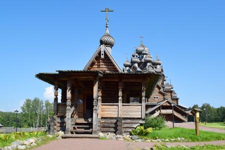 Wooden church (Pokrovskaya church). The monument of wooden architecture Pokrovsky graveyard. St. Petersburg, Russia Stock Photo