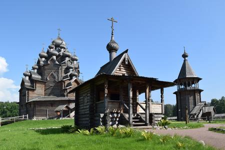 Wooden church (Pokrovskaya church), St. Petersburg, Russia. The monument of wooden architecture Pokrovsky graveyard