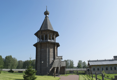 Wooden church. The monument of wooden architecture. St. Petersburg, Russia Stock Photo