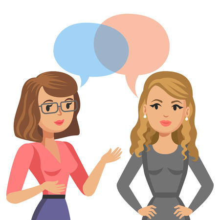 Two young women talking. Meeting colleagues or friends. Gossip girls. Vector illustration