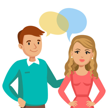 talking: Man and women talking. Talk of couple or friends. Vector illustration