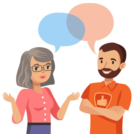 computer repair technician: Woman talking with a computer specialist. Vector illustration Illustration