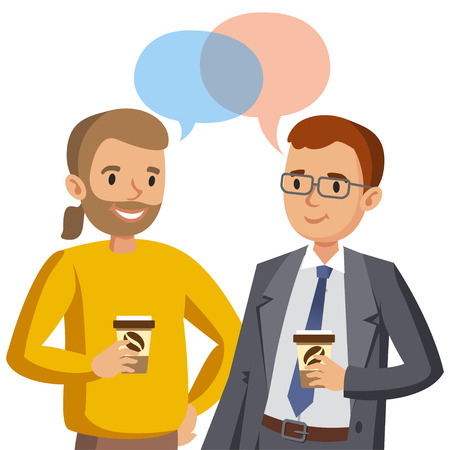 Two man talking. Meeting of friends or colleagues. Vector illustration 일러스트