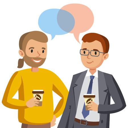 Twee man praten. Ontmoeting met vrienden of collega's. Vector illustratie