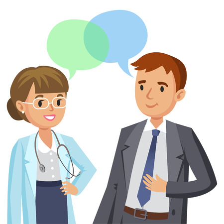 Doctor and patient. Man talking to physician. Vector illustration Ilustração