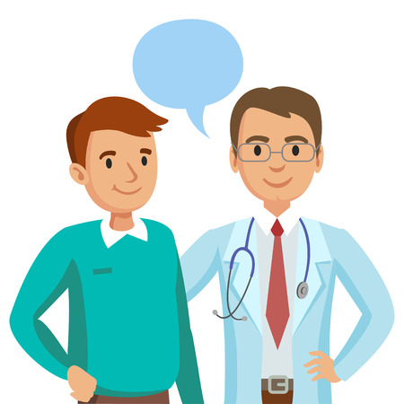 physician: Doctor and patient. Man talking to physician. Vector illustration Illustration