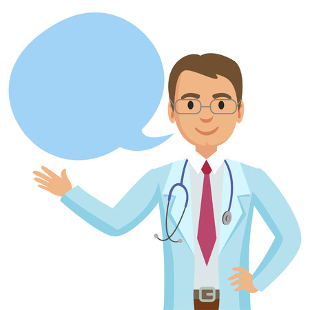 Smiling doctor with speech bubble. Happy physician. Vector illustration