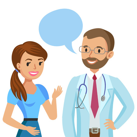 physician: Doctor and patient. Woman talking to physician. Vector illustration Illustration