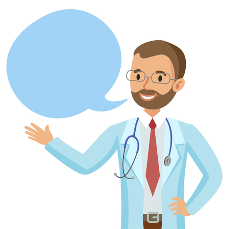 physician: Smiling doctor with speech bubble. Happy physician. Vector illustration