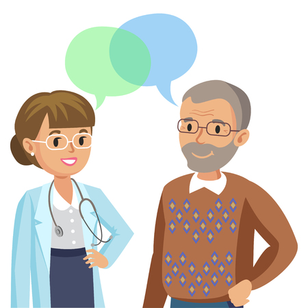 Doctor and senior patient. Man talking to physician. Vector illustration